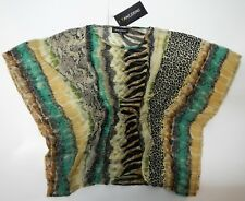 Tangerine T201 Scoop Neck Batwing Sleeve Cape Style Animal Print  Blouse Top