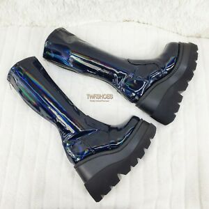 "Shaker 65 Black Hologram Platform 4.5"" Wedge Heel Knee Boots Sizes 6-12 NY"