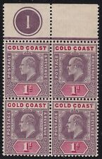1902 GOLD COAST, SG 38 block of four MNH/** with Plate number