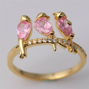 Women'S 3 Ct Pink Cute Bird Women Silver Wedding Engagement Ring Size 8