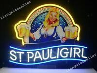 New Rare St. Pauli Girl REAL Glass NEON SIGN BEER BAR PUB LIGHT Fast Free Ship