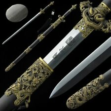 Nine Dragon Sword Hand Forged pattern steel Pure copper Carved Fittings #5064