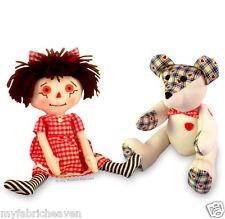 2 X Teddy Bear & Rag Doll Soft Toy Sewing PATTERNS Memory Bear