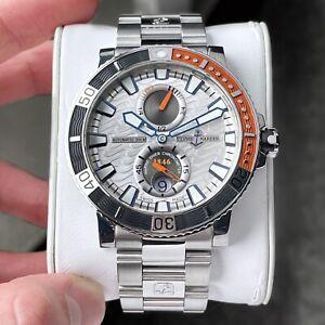 Ulysse Nardin Maxi Marine Titanium Diver 45mm Men's Watch Silver Wave Dial Date