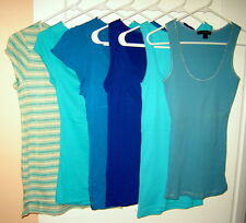 LOT (6 pcs) Women's BLUE Cap Sleeve Fitted Tops & Tanks (XS/S/M) Express Limited