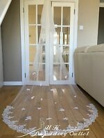 Beautiful Bridal Wedding lace Veil Cathedral long 2Tier With Comb 3M ivory/white