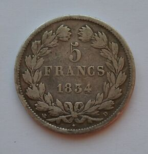 1834 D France 5 Francs Silver Coin