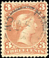 Used Canada F+ Scott #25 3c EARLIER DATE 1868 Large Queen Issue Stamp