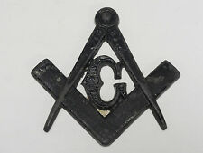 EARLY 20 c. MASONIC SYMBOL METAL CAR - WALL ORNAMENT PLAQUE