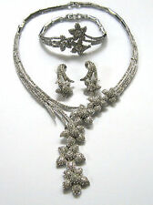 Butler and Wilson Clear Crystal Y Flower Wedding Necklace Bracelet Earrings NEW
