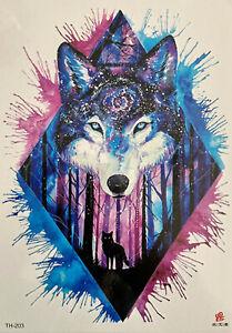 Temporary Tattoo Animal Wolf Fox Body Art Fake Waterproof 21cm x 15cm