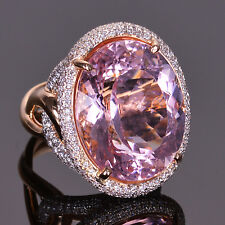 Huge Morganite and Pave Diamond Cocktail Ring in 18K Rose Gold