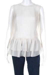 Brunello Cucinelli Womens Silk Sheer Pleated Peplum Blouse White Size Medium