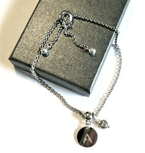 Round  *Initial*  charm Slider Chain bracelet  *in a gift box*