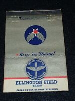 WW2 Matchbook Cover 3.5 x 5 Army Air Forces Ellington Field Texas Postcard Back