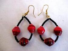 "2 1/4"" Loop Dangle Earrings  Red Black  Mix Recycled Paper Bead Gold Wires"