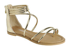 New Women Criss Cross Ankle Strap Cuff Gladiator Flat Sandal Shoes Open Toe Ring