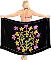"LA LEELA Women's Beach Sarong Cover Up Pareo Swimsuit Wrap 78""x42"" Black_X895"