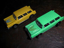 2 CAR LOT CHEVY CHEVROLET TOY CAR NOMAD NEON GREEN & YELLOW NR MINT