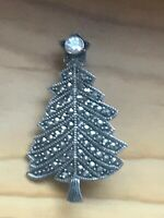 Vintage Small 925 Thailand Signed Sterling Silver Marcasite Christmas Tree Pin