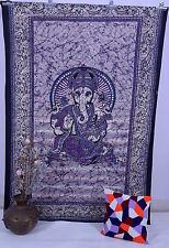 Purple Ganesha Tapestry Wall Hanging Hippie Throw Bedspread Indian Ethnic Decor