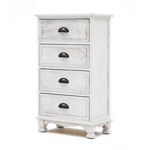 LaBella Bedside Table 4 Drawer Side Table Storage Cabinet Bedroom VINTAGE WHITE