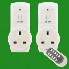 2x Wireless UK Plug-in Mains Remote Controlled Energy Saving Sockets Switch Set
