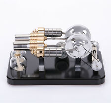 All Mental Twin cylinder Hot Air Stirling engine Micro generator Model