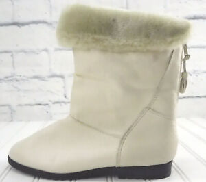 LEATHER COMPLETELY FUR LINED LEATHER BOOTS Bone / Beige Color Women's 7W