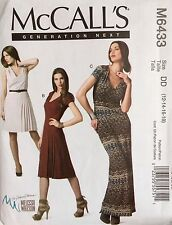 NEW/VINTAGE 2011 'MC CALL'S'  DRESS PATTERN M6433 SEMI FITTED 12-18