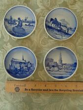Vintage Ceramics,4 Royal Copenhagen Miniature Round Blue & White Plates,Denmark