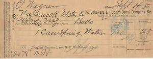 1885 , ALBANY,  NEW YORK RECEIPT  DELAWARE & HUDSON CANAL COMPANY