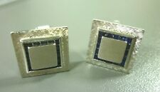 Lucien Piccard 14K White Gold Cufflinks with Natural Sapphire