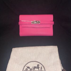 New Auth. Hermes Kelly Wallet Rose Tyrien Pink Mysore Goatskin Retail $3,842