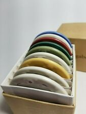 Longaberger Pottery Samples Mini Plates Set of 9 2 1/2 inches In Box 88145