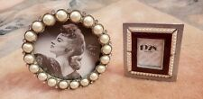 Lot One Round Pearl Crystal 3 1/2 and Red Enamel Perl Photo Frames 1,5 x 1 1/8.