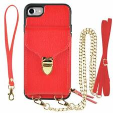 iPhone 8 iPhone 7 Case Wallet Card Slot Leather Handbag Crossbody Purse Red