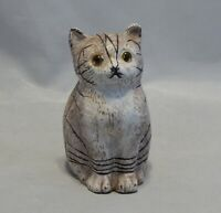 Antique Cast Iron Still Bank Painted Cat with Glass Eyes
