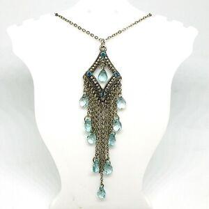 Blue Rhinestone Necklace Tassle Pendant Dangle Beads Moroccan Boho Silver Tone