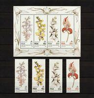 ✔️ (YYBD 339) South Africa RSA 1981 MNH Mi 590 -3 Sc 553 - 556a Flowers Orchids