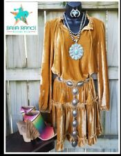 COWGIRL gypsy dress velvet boho native Western gold mustard velour nwt small