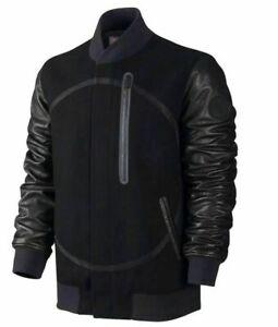 Nike Air Destroyer OG Wool Leather Bomber Jacket Men's M 857499 010 $500 Black