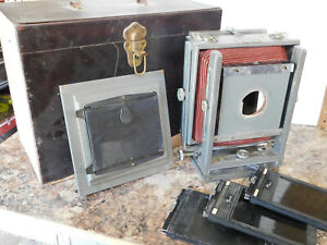 Burke & James 5x7 Red Bellows Large Format View Camera w/ Case... READ!