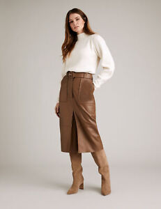 MARKS & SPENCER M&S AUTOGRAPH LUXURY LEATHER BELTED MIDI CAMEL PENCIL SKIRT £199