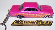 "CUSTOM MADE..1963 CHEVY II ""HOT PINK-FLAMES"" KEYCHAIN..GREAT GIFT!"