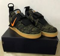 NIKE AIR FORCE 1 UTILITY LOW PRM WIP CARHARTT CAMO GREEN/TOTAL ORANGE TRAINERS