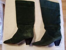 Vintage 70's Womens Knee High Green Suede Boots Sz 71/2 B By Pedro Flusca Made