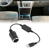 Portable USB Male To 12V Car Cigarette Lighter Female Socket Converter Adapter Y