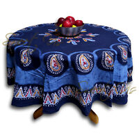 Cotton Multi Batik Paisley Floral Tablecloth Round 72 in Linen Blue Red White