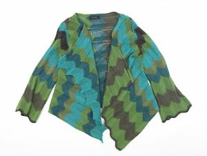 Principles Womens Green Striped Knit Cardigan Jumper Size L